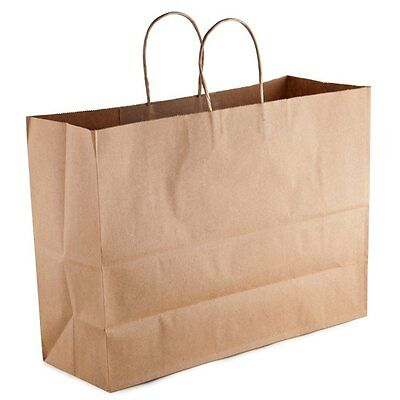 25 count Paper Retail / Shopping Bag 16x6x12 KRAFT with Rope Handle TOTE