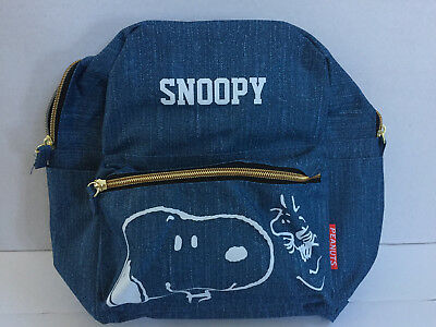 "New 11"" Peanuts Snoopy denim style mini backpack/daybag for Jr. or Kids 7+"