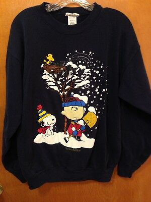 VTG 60S 1965 PEANUTS SNOOPY SCHULTZ Charlie Brown SWEATSHIRT XL Christmas SNOW