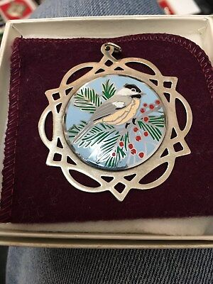 LUNT 1990 Merry Christmas  Sterling Silver & Enamel Ornament