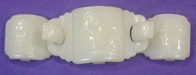 Antique Old Chinese Asian 3 Piece Carved White Jade Belt Buckle Beautiful Mint!!