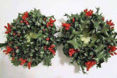 Christmas Candle Rings.Set Of 2 Vintage Christmas Wreath Candle Rings Hong Kong 7 Plastic Holly
