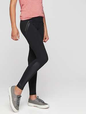 Athleta Girl NWT Shine On Tight XL (14) MSRP $54 black faux leather tights