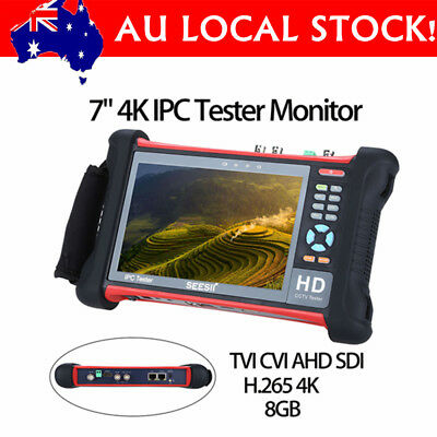 "SEESII 7"" 4K IPC Camera Tester Monitor 8GB Retina Touch Screen TVI CVI AHD Wifi"