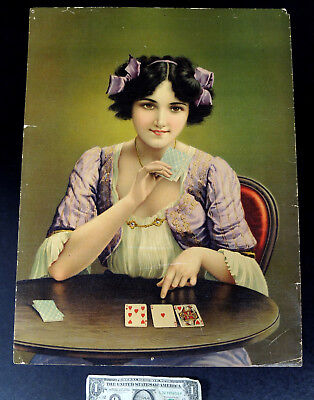 Antique vtg CARD PLAYING Sexy Pin-Up GYPSY GIRL Art Print Chromolithograph 15x20