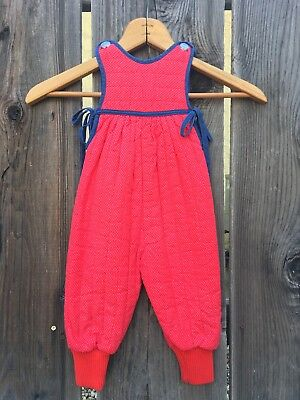 Vintage Red Polkdot Quilted Overalls size 12mos   Red Jogger Pants Overalls