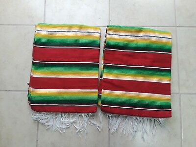 TWO PIECE SERAPE SET ,5' X 7',Mexican Blanket,HOT ROD, XXL , RED,GREEN & YELLOW