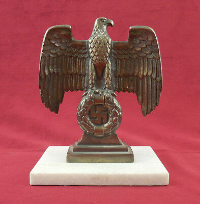 Vintage Brass Nazi Eagle Sculpture on Marble Base paperweight