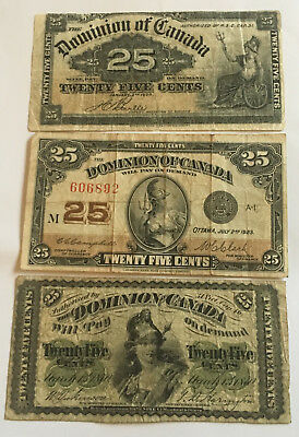 Nice 1870, 1900 & 1923 Canadaian Fractional Currency.