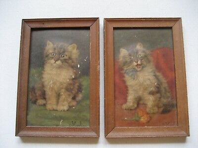 2 Small Vintage Framed Kitten Pictures with Cats in Relief