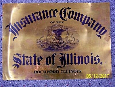 Early Old Vintage BRASS Insurance Co. Illinois Advertising C W Shonk Sign RARE!