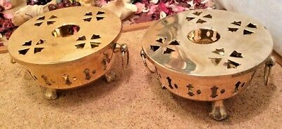 Pair Of  Vintage Solid Brass Table Tea Light Plate Warmers 12 x 6.5cms