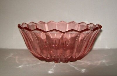 SMALL VINTAGE PINK CLEAR GLASS BOWL / DISH scalloped edge 13.5cm