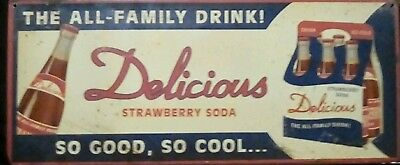 """Delicious Strawberry Soda 12"""" X 5"""" Metal Sign, All Family Drink"""