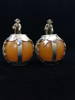 A pair of jade collection, Tibet silver hand carved statues of the monkey