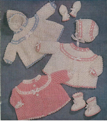 VINTAGE KNITTING PATTERN  COPY - TO KNIT BABY'S  MATINEE COATS  - 1960's