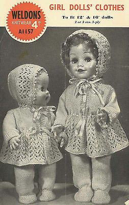 """VINTAGE KNITTING PATTERN  COPY - DOLLS LATE 1940's - FITS 12&16"""" DOLLS OUTFIT"""