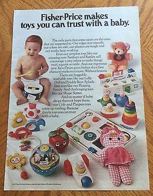 1977 Fisher-Price Baby Toys Print Ad - Teethers, Rattles, Lolly Doll, Etc.