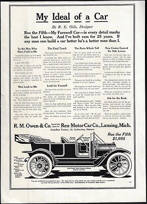 1912 Antique REO the Fifth Motor Car Image Print Ad