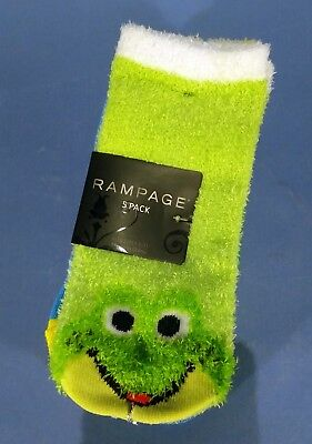 Girls Ankle Socks Rampage 5 pack Multi Color NEW One Frog Fuzzy Sock