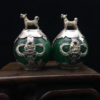 A pair of jade collection, Tibet silver hand carving statues of dog 4.17dx06.