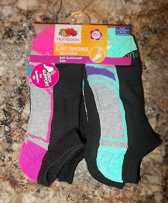 Girls Shoe Size 4-10 Fruit of the Loom 6-Pack No Show Socks Arch Support NEW