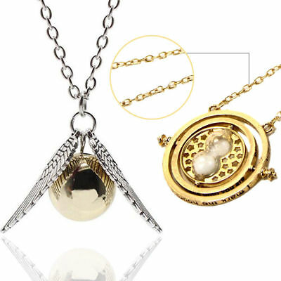 2 Harry Potter Jewelry Necklace Gold Snitch + Hermione's Time-Turn -Gold