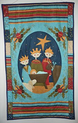 """Modern Nativity Christmas Quilted Wall Hanging – 3 Kings - 43"""" x 26"""""""