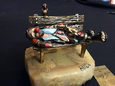 Vintage Ron Lee Clown On A Bench 1980 Signed Tag & Base Gold Plated Onyx