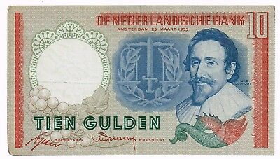 1953 NETHERLANDS 10 GULDEN NOTE - p85
