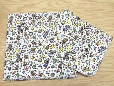 Cowboys Hats Cowgirls Indians Cactus Baby Blanket Burp Cloth Set Pre-Washed