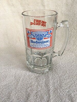 Official Product Budweiser This Bud's For You X-Large 32oz Glass Beer Mug Stein