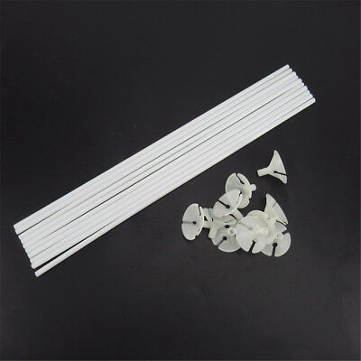 30pcs White Balloon Sticks Plastic Holder Accessories Party Latex Balloon Stick