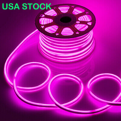 Pink 50 100 150 Led Neon Rope Lights Outdoor Flex Home Decorative