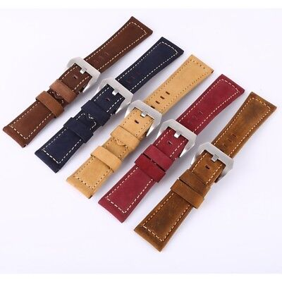 20-26mm Genuine Leather Padded Wrist Watch Band Strap Belt Blue/Red/Khaki/Brown