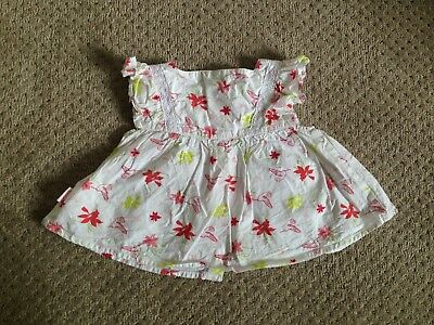 Pumpkin Patch Baby Girl White Dress Top With Flowers 3-6 Months