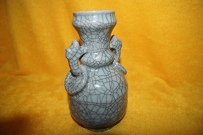 Chinese Celadon Crackle Vase with Ringed Handles