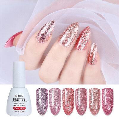 10ml BBORN PRETTY Rose Gold Glitter UV Gel Polish Soak Off Gel Varnish