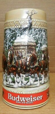 """1987 embossed Budweiser Holiday SteinClydesdales """"C"""" Series"""