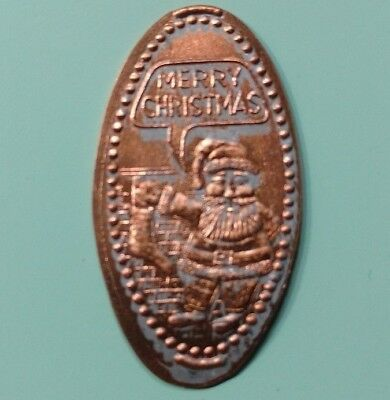 MERRY CHRISTMAS Santa Claus Filling Stocking At Brick Chimney #1 Elongated Penny