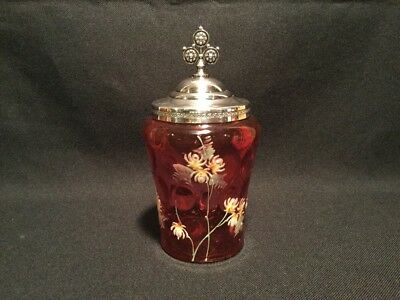 ANTIQUE VICTORIAN thumprint CRANBERRY ENAMEL ART GLASS JAR silverplate