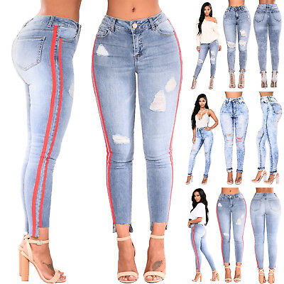 US STOCK WOMEN PLUS SIZE HIGH WAIST Distressed RIPPED SKINNY DENIM JEAN MIX PANT