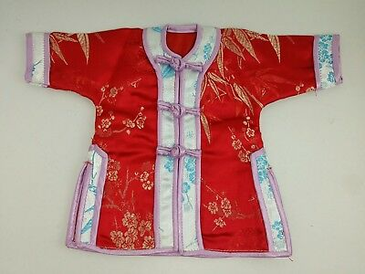 Miniature Cheongsam Chinese Red Silk Gown Collection Souvenir Doll Dress Display