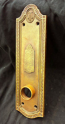 "5 avail 3""x10"" Antique Vintage Bronze Door Knob Cover Keyhole Plate Escutcheon"