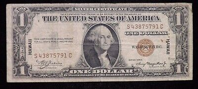 1935 A $1 Dollar Hawaii Silver Certificate Circulated Paper Note