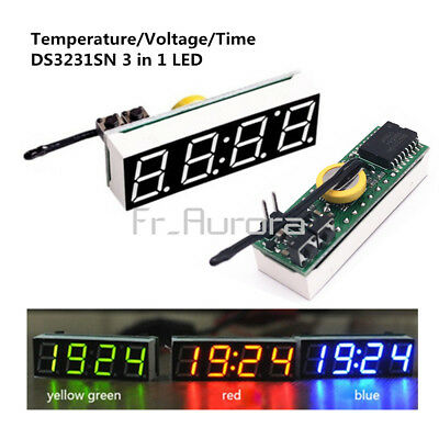 3 in 1 LED High Accuracy DS3231SN Digital Clock Temperature Voltage Module