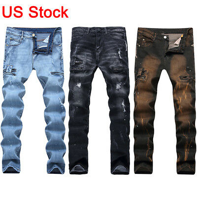 Men Denim Ripped Jeans Stretch Slim Fit Distressed Straight Leg Biker Moto Pants