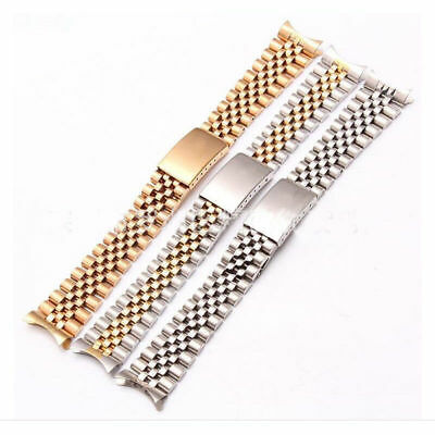 New Hollow Curved End Solid Screw Links Jubilee Bracelet Watch Band Strap 17/20