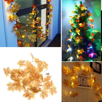 Warm White Light 10 LED Lamp Autumn Leaves Garland Home Interior Decor XMAS BDP