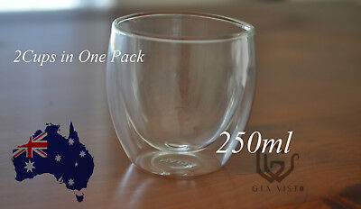 New 2 pcs Double Wall glasses Tea Coffee Cup Bar Cup 250ml